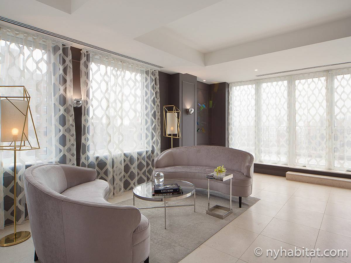 new york 3 bedroom duplex penthouse apartment living room ny16729