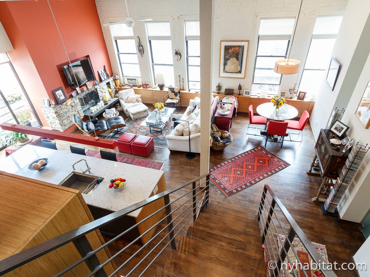 New York 1 Bedroom   Loft Apartment   Living Room (NY 3754) Photo ...