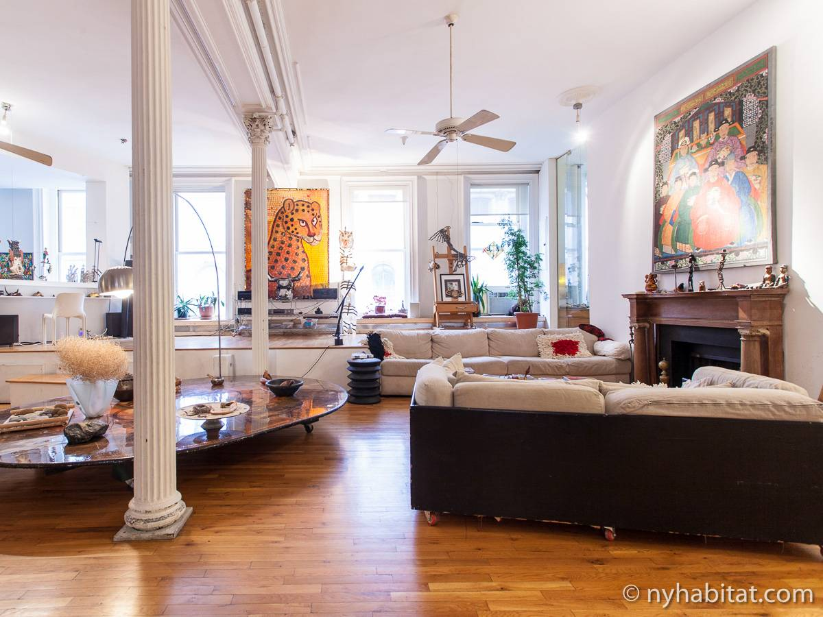 New york apartment 3 bedroom loft duplex apartment for Living room york