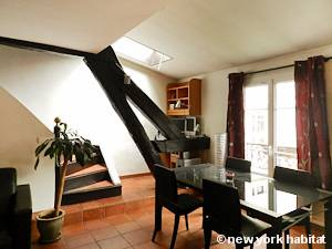 Paris T2 - Duplex - Penthouse logement location appartement - séjour (PA-4274) photo 1 sur 4