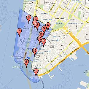 Mapa del World Trade Center y los alrededores