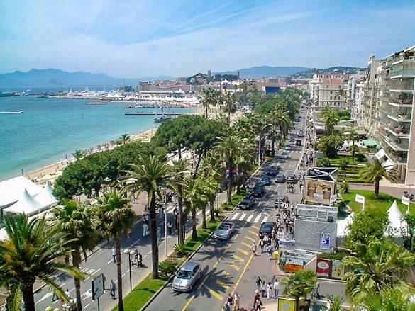Imagen del Boulevard de la Croisette en Cannes