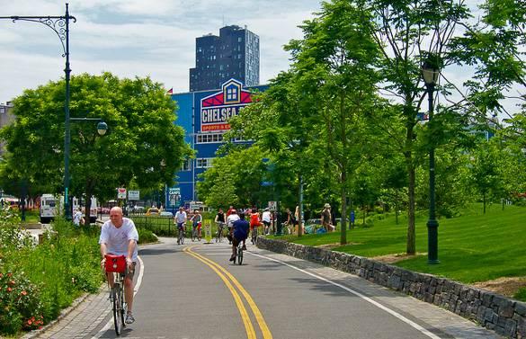 Imagen del Hudson River Park y los muelles de Chelsea