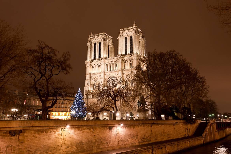 El árbol de Navidad de Notre Dame visto desde el Sena