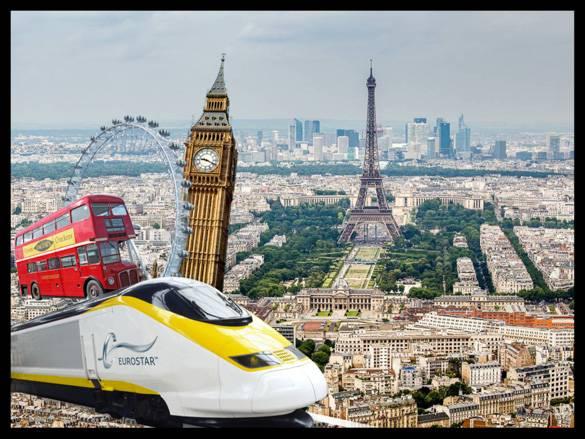 Imagen de un tren Eurostar y puntos emblemáticos famosos de Europa