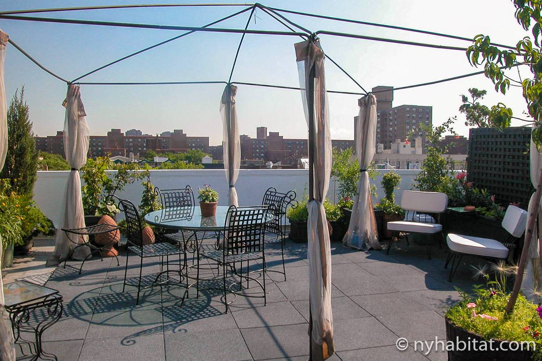 Imagen de la terraza de la azotea con mesa, sillas y plantas del apartamento NY-11476