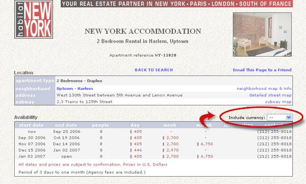 Apartment price in the currency of your choice