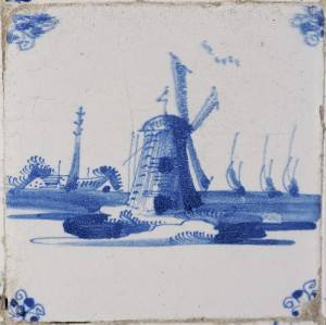 Drawing of a Dutch windmill