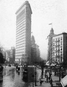 The Flatiron Building in Madison Square Park