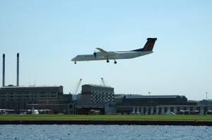 Plane landing at London City Airport
