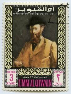 Self Portrait of Manet on a stamp