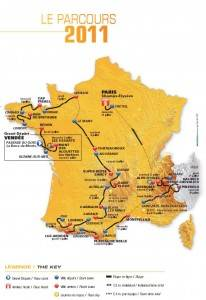 Map of the 2011 Tour de France (Click for a larger image)