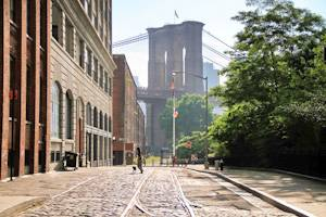 View of the Brooklyn Bridge early morning from DUMBO neighborhood