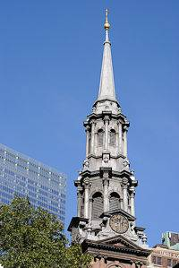 The tower of St. Paul's Chapel in Lower Manhattan, New York