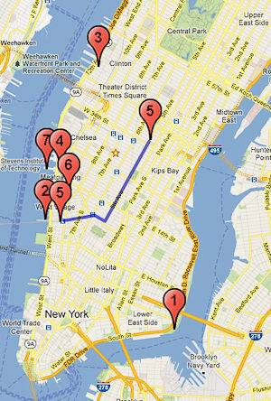 Map of the route of the Pride March as well as the different festivity locations in New York