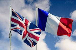 The United Kingdom's Union Jack and France's Tricolor flag are displayed for Bastille Day