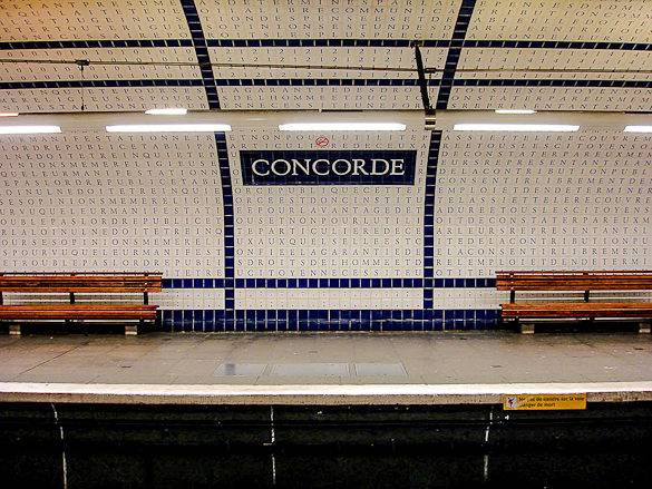 Image of lettered tiles at the Concorde Métro station in Paris