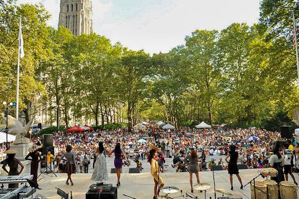 A picture taken from a stage during Harlem Week in New York City's U.S. Grant National Memorial Park