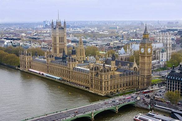 Picture taken from the London Eye of the Houses of Parliament on a cloudy day