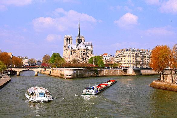 Image of a Seine river cruise with Île de la Cité and the Notre Dame in the background