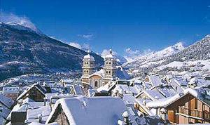 Image of a snow-covered Briancon in the Southern French Alps