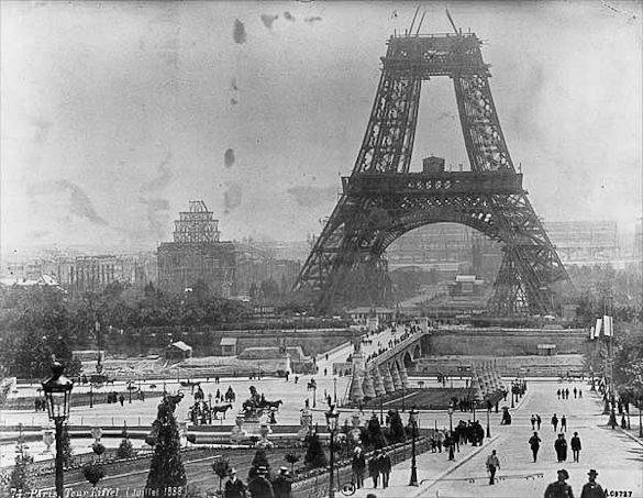 Picture of the Eiffel Tower under construction in Paris