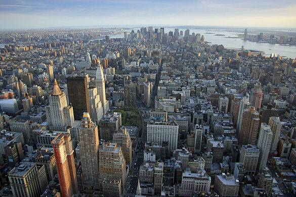 Panoramic image of Manhattan seen from the Empire State Building