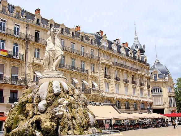 Picture of Montpellier's Three Graces fountain at the Place de la Comédie