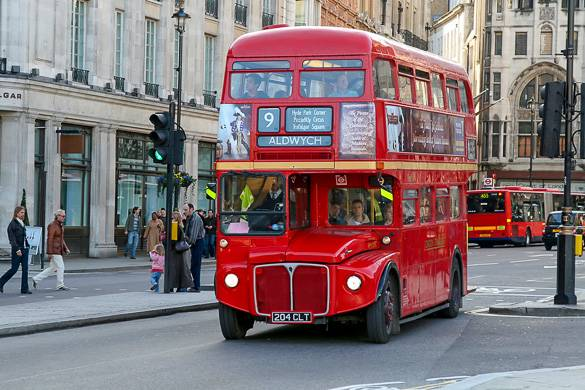 Picture of a traditional red double-decker bus in London