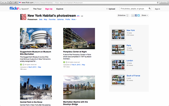 Screenshot of the Flickr Page of New York Habitat