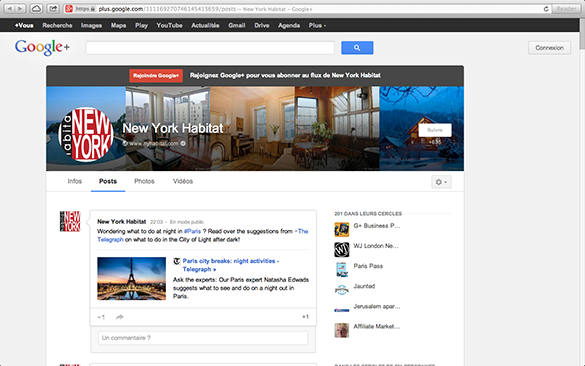Screenshot of the Google+ Page of New York Habitat