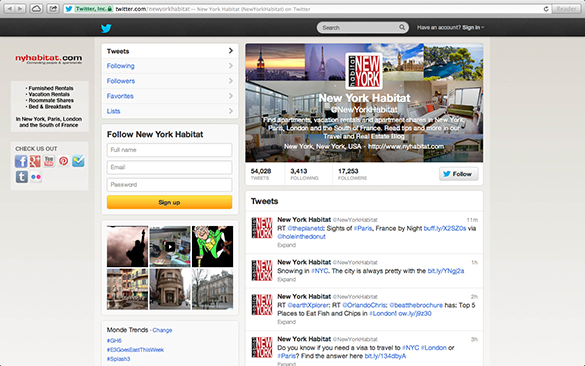 Screenshot of the Twitter Page of New York Habitat
