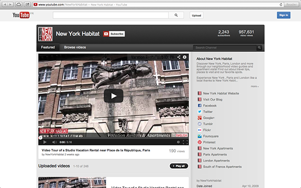 Screenshot of the English Youtube Channel of New York Habitat
