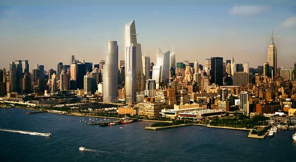 impression of the finished hudson yards project - Hells Kitchen Manhattan