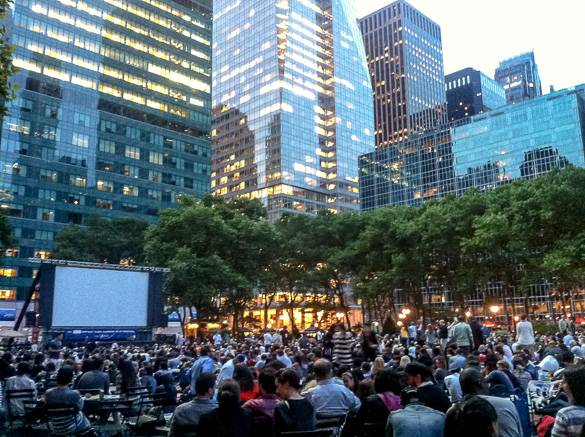 Picture of an outdoor movie showing in Bryant Park, Manhattan