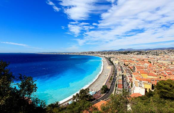 View of the Mediterranean Sea & Promenade des Anglais in Nice