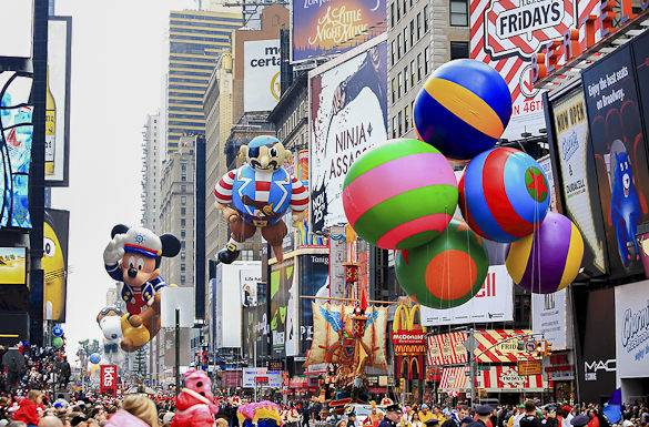 Image of Macy's Thanksgiving Parade in New York's Times Square