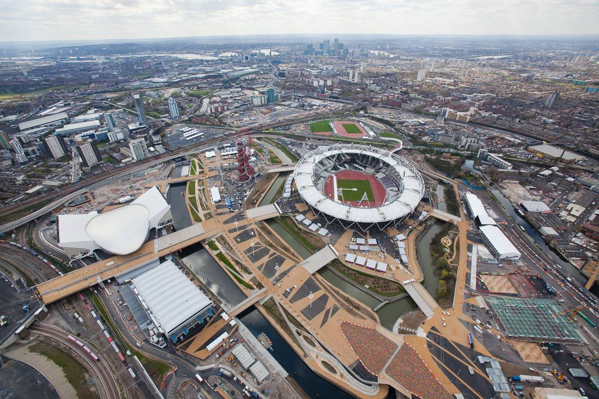 Aerial photo of the Queen Elizabeth Olympic Park in London