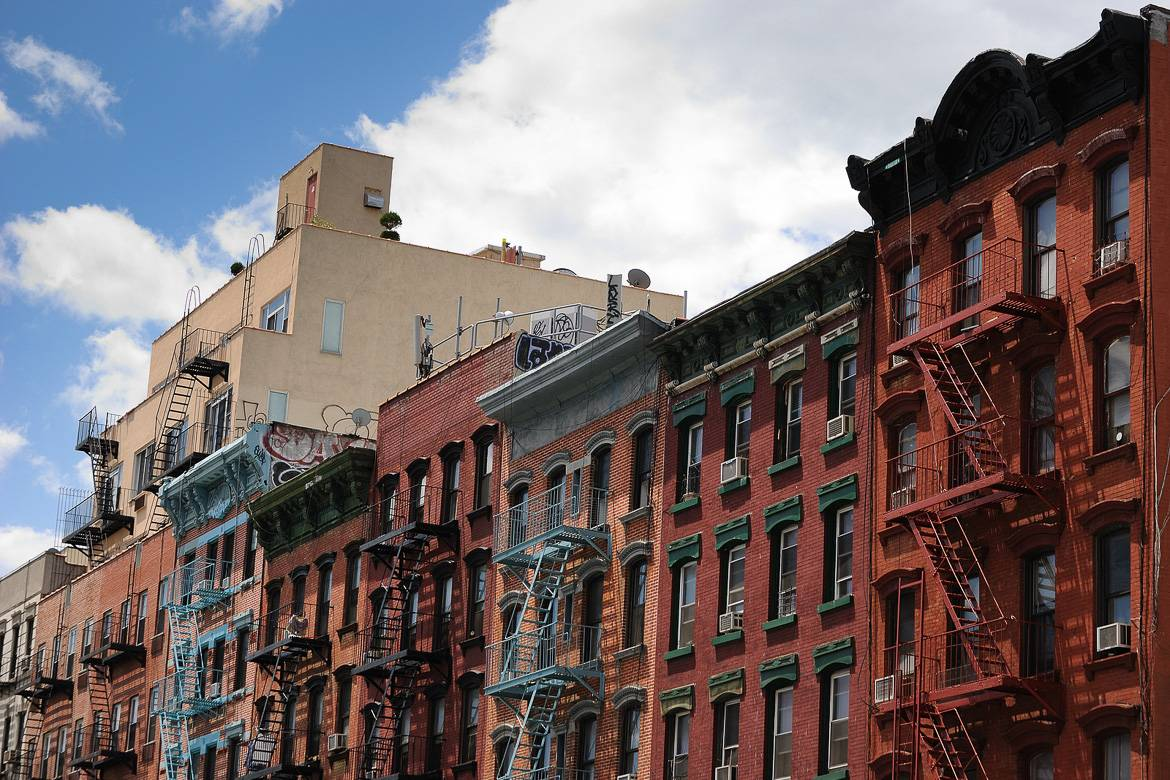 Picture of Lower East Side tenement apartment buildings in a row