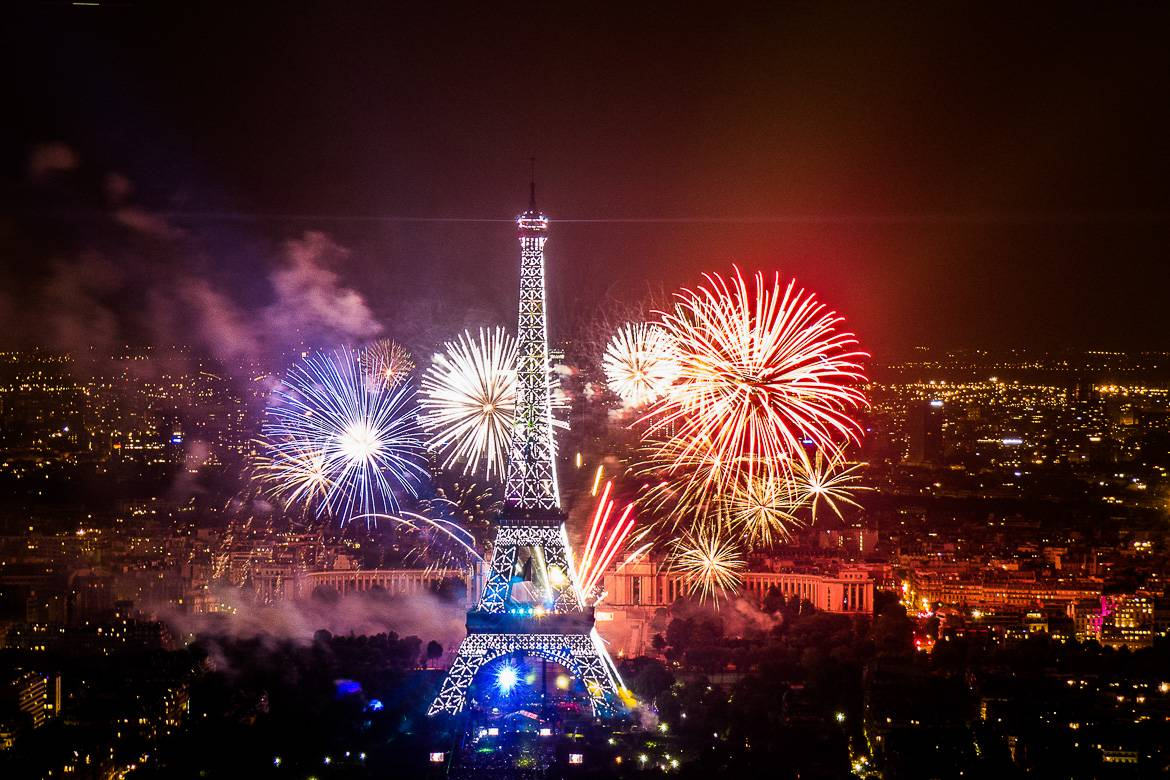 Photo of the fireworks grand finale at the Eiffel Tower for Bastille Day.