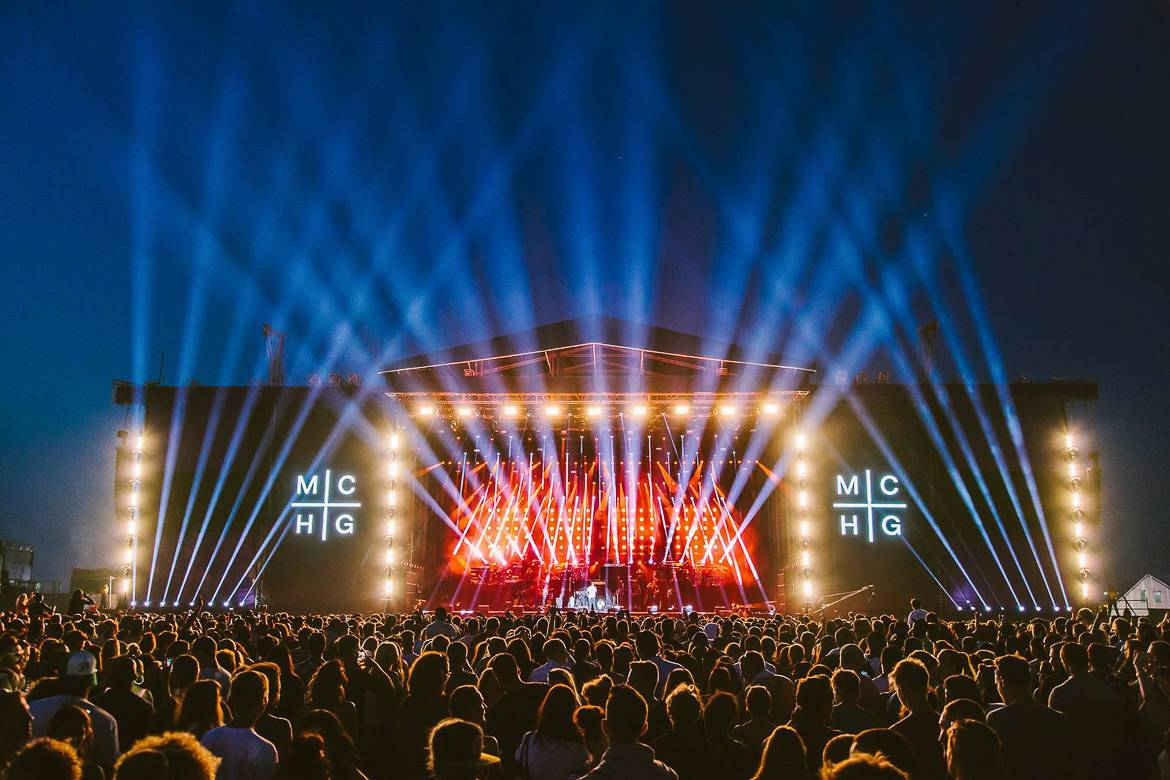 Picture of a stage at night during the Wireless Festival.
