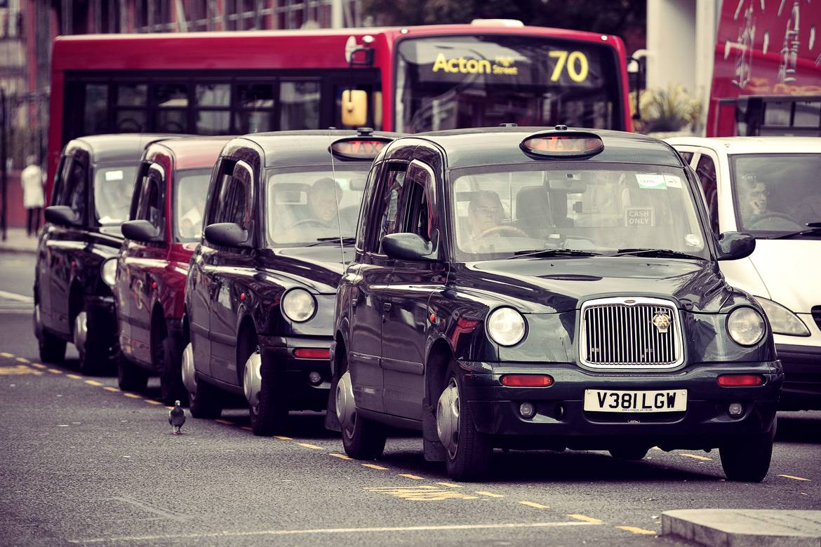 Photo of London's black cabs.