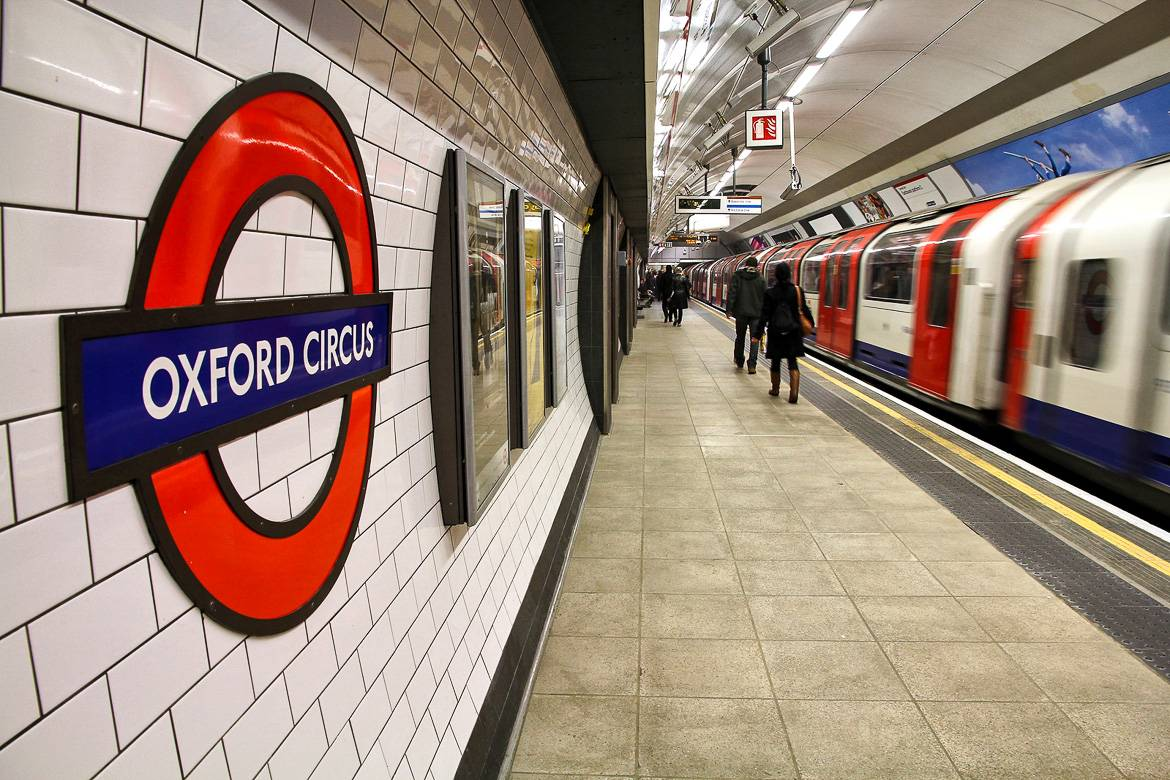 Picture of the tube station at Oxford Circus.