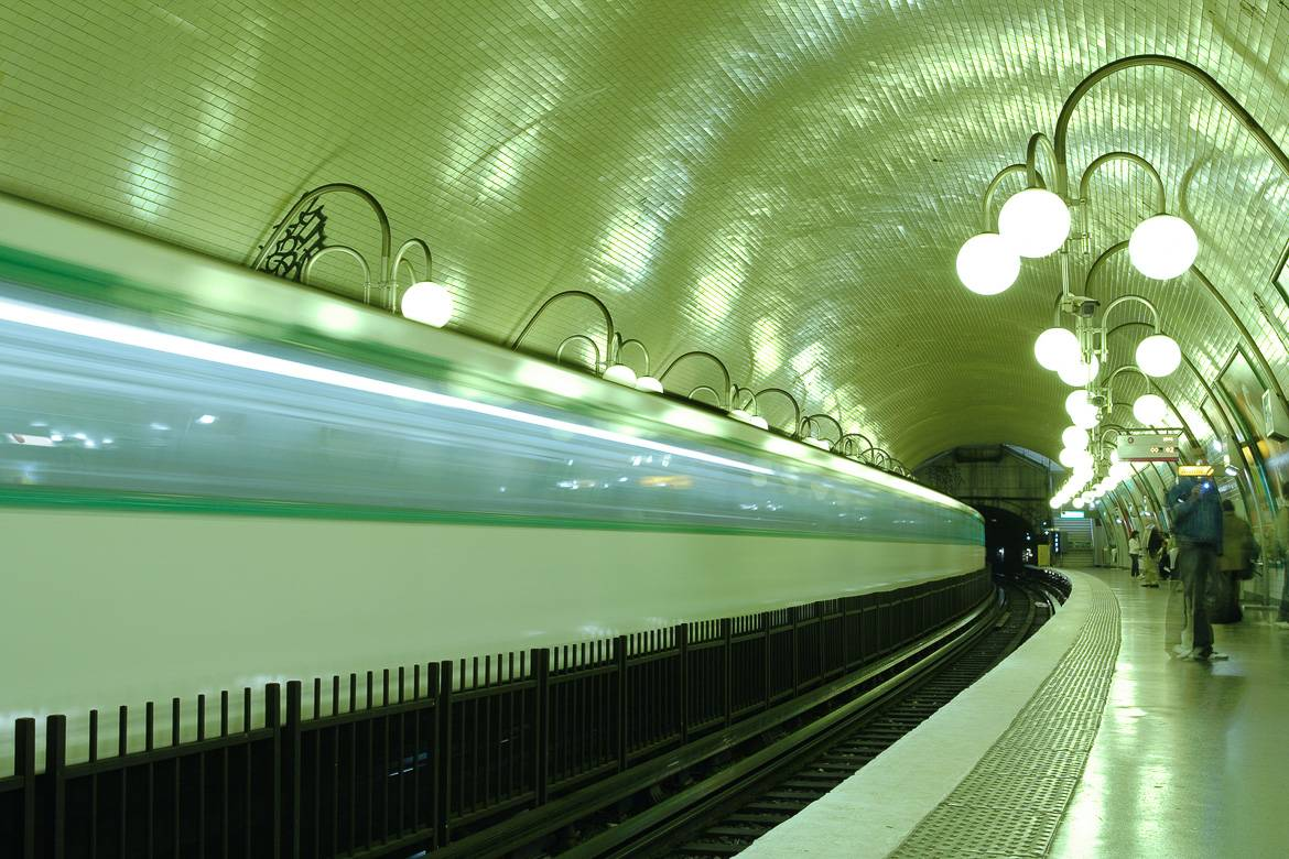 Picture of a metro station in Paris.