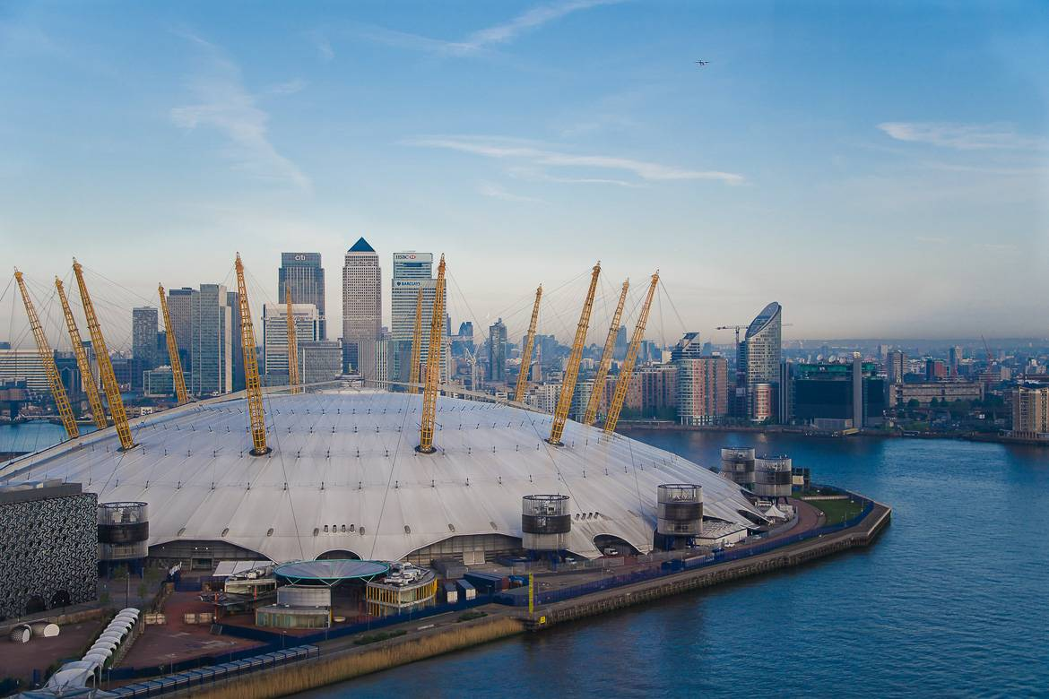 The O2 from above in London