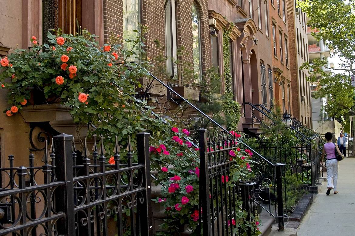 Photo of a row of Brownstone Buildings.