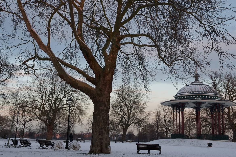 A snowy wonderland graces Clapham Commons