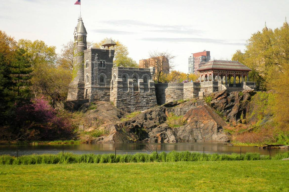 The outdoor Delacorte Theater is right next to Belvedere Castle in Central Park.
