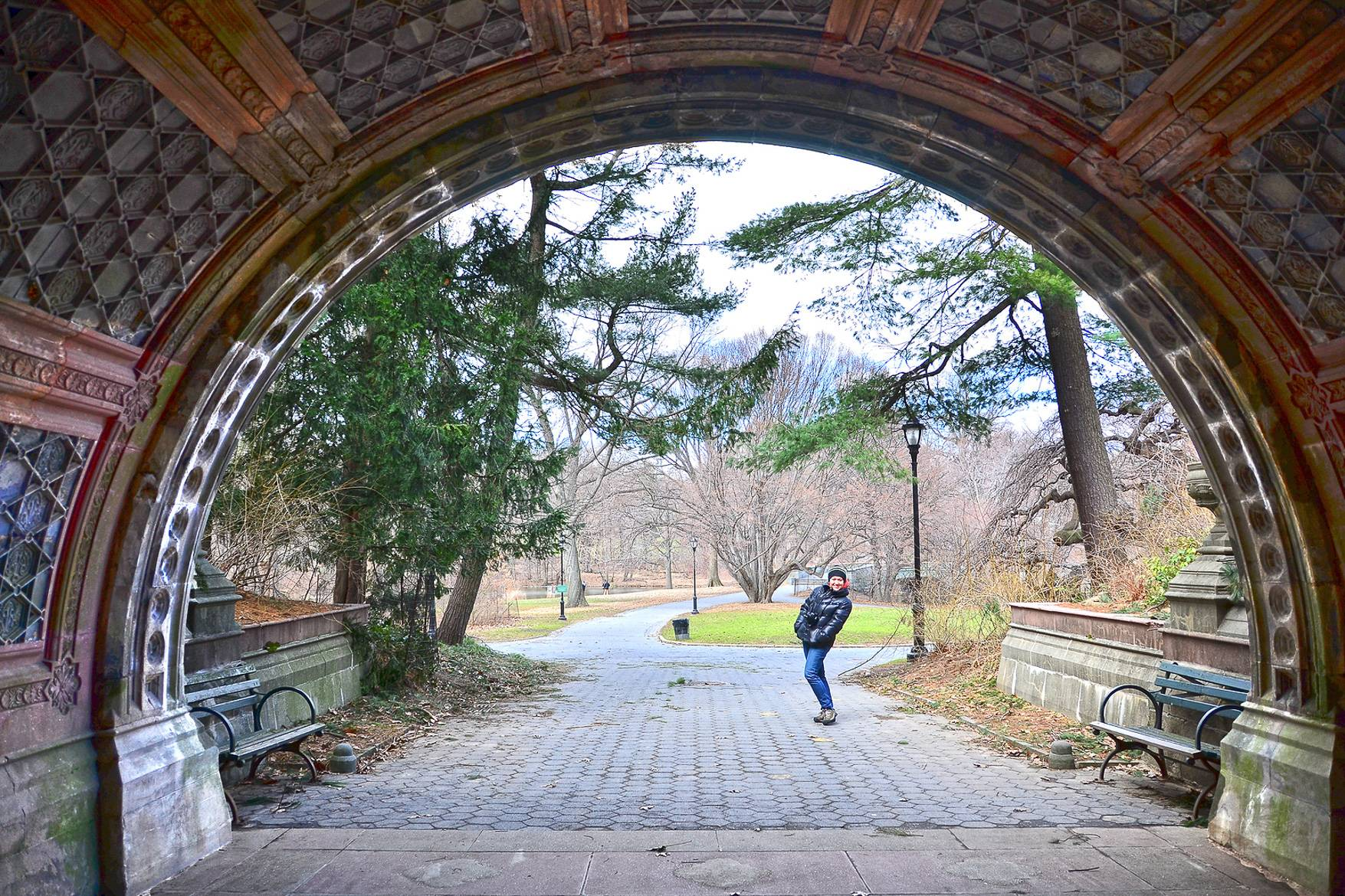 Image of a man under a bridge on a path in Prospect Park, Brooklyn