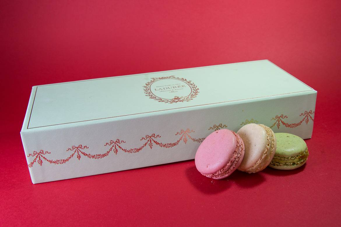Image of a box of macarons from Ladurée at Harrods in London